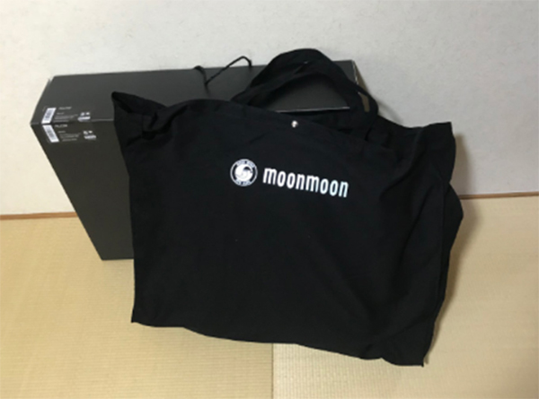 布製の大きめのキャリーバッグの中にYOKONE3が入っています